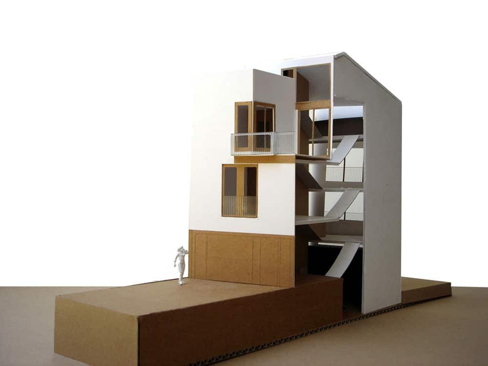 Projecte d'edificació entre mitgeres Render 3D Casa H2